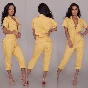 Pants - Rylee Denim jumpsuit-Yellow